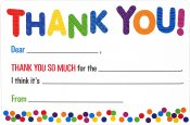 Children's Fill-In Thank You Notes